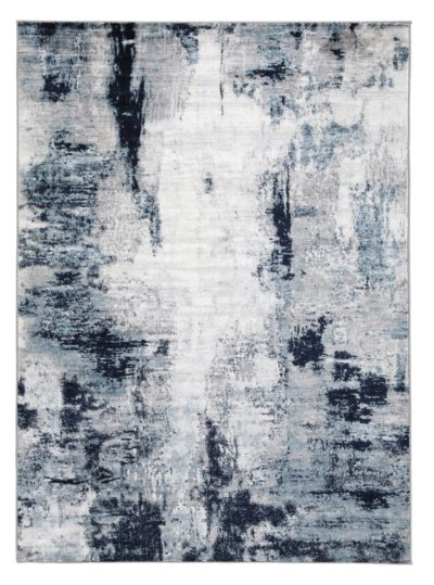 R404871 Leonelle Rug With a cream hue and shades of blue and gray, it complements a variety of interior design themes.