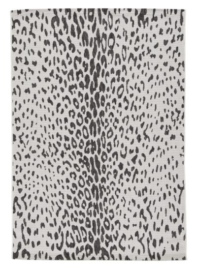 R405021 Samya Rug Go wild with this indoor/outdoor animal print rug, thanks to its black, white and gray color palette.