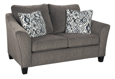 Side of the Nemoli Loveseat sets the scene for a modern space full of casual flair with its flared arms. Its textured chenille with solid microfiber upholstery provides a luxuriously soft feel that's inviting.