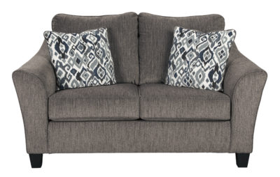 The Nemoli Loveseat sets the scene for a modern space full of casual flair with its flared arms. Its textured chenille with solid microfiber upholstery provides a luxuriously soft feel that's inviting.