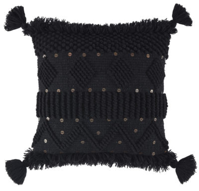 A1000934 Mordechai Pillow A textured black ground is highlighted with goldtone accents and tassels on each corner of the pillow.