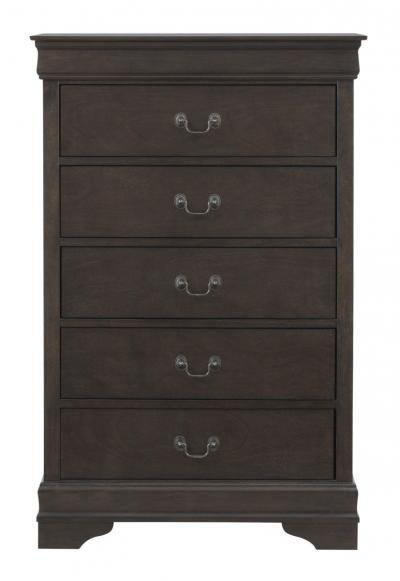front B398-46 Leewarden Chest In an elegant deep brown finish, this five drawer chest of drawers is a regal dream