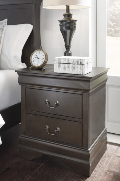 Room picture of B398-92 Leewarden Nightstand features two drawers, polished and poised in an elegant deep brown finish.